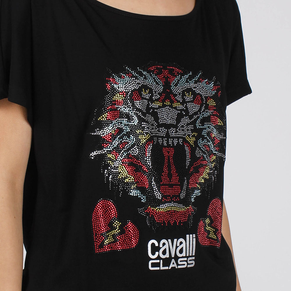 Футболка-оверсайз Cavalli Class с разноцветным тигром