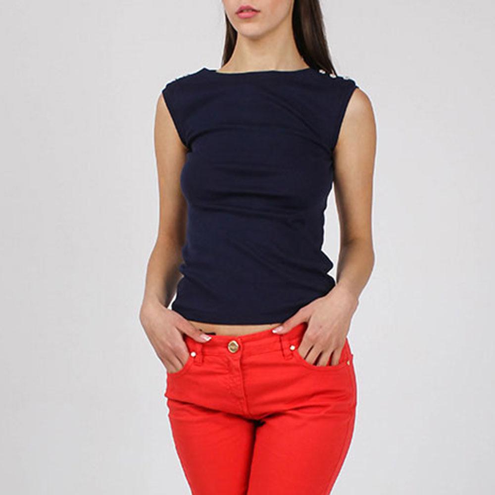 Топ Polo Ralph Lauren синего цвета с пуговицами на одном плече