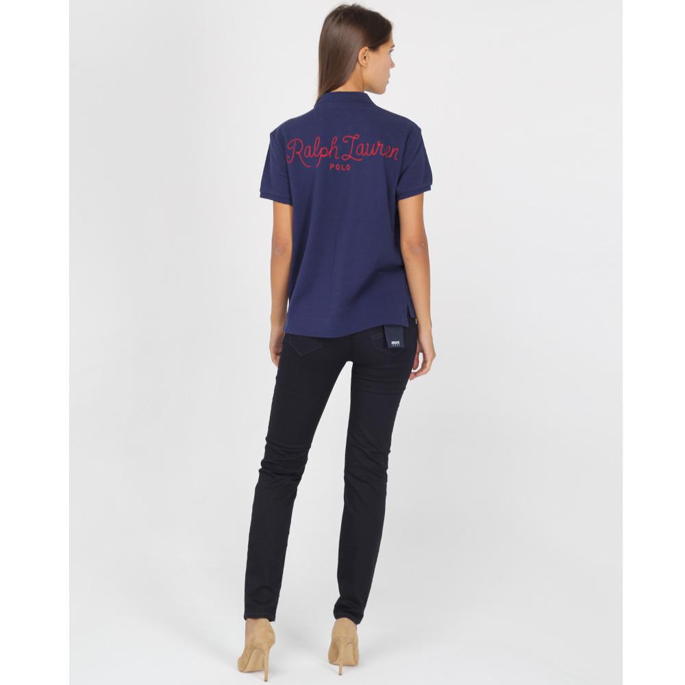 Синяя футболка-поло Polo Ralph Lauren с разноцветными нашивками