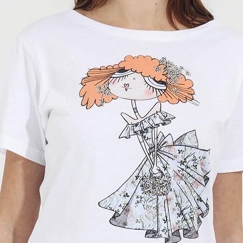 Белая футболка Emma&Gaia с принтом-девочкой, фото
