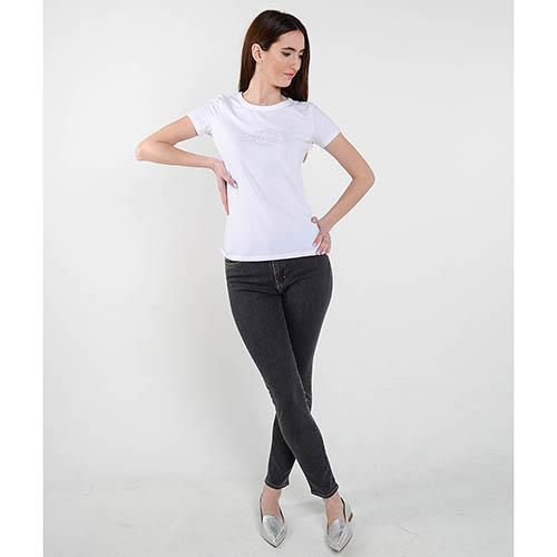 Белая футболка Cerruti со стразами, фото