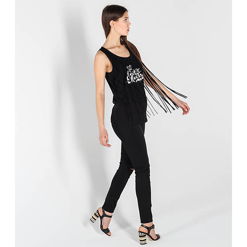 Трикотажная майка Love Moschino черного цвета с бахромой, фото