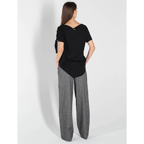 Черная футболка Twin-Set Simona Barbieri с завязками на рукаве, фото