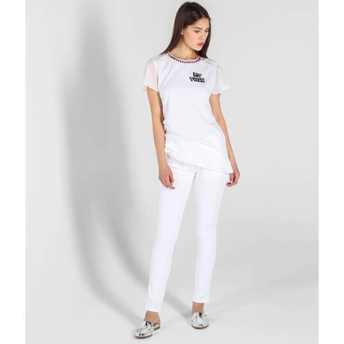 Белая футболка Twin-Set Simona Barbieri с вышивкой и прозрачными рукавами, фото