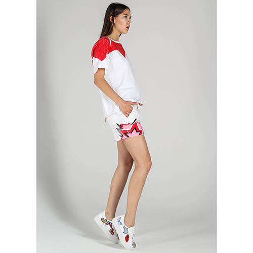 Коттоновая футболка P.A.R.O.S.H. с вышивкой красными пайетками, фото