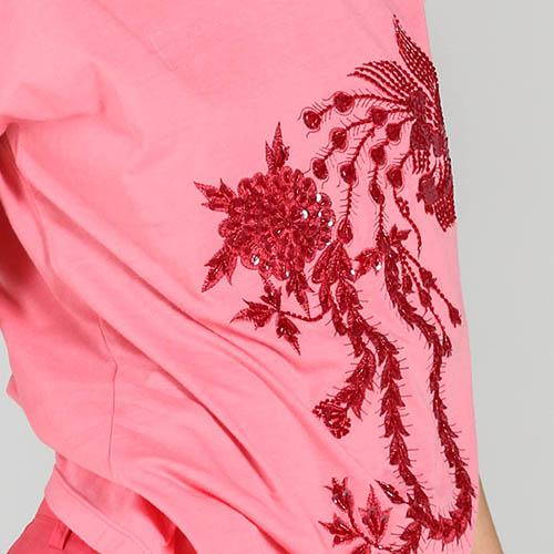 Розовая футболка P.A.R.O.S.H. с красной вышивкой, фото