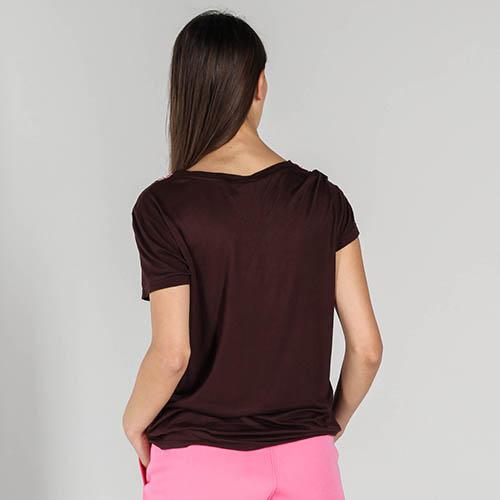 Коричневая футболка P.A.R.O.S.H. с розовыми пайетками, фото