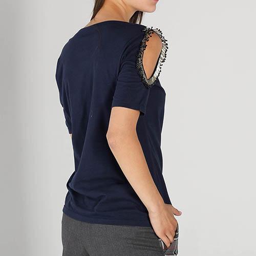 Синяя футболка P.A.R.O.S.H. с бисером на рукавах, фото