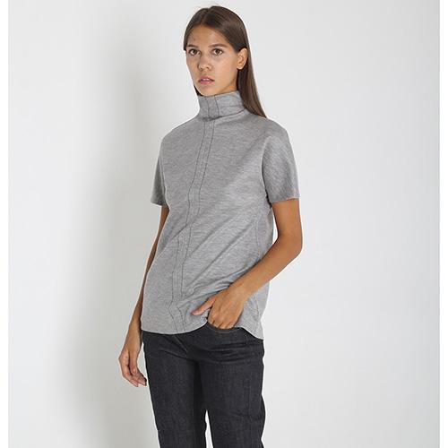 Шерстяной топ Maison Margiela серого цвета с коротким рукавом, фото