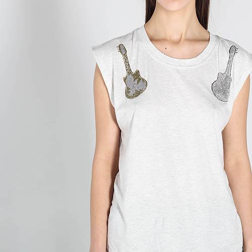 Белая футболка Zadig Voltaire с вышивкой бисером, фото