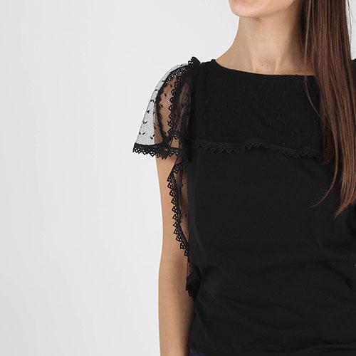 Черная футболка Red Valentino с кружевными воланами, фото