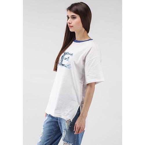 Белая футболка Ermanno Scervino с синей горловиной и принтом, фото