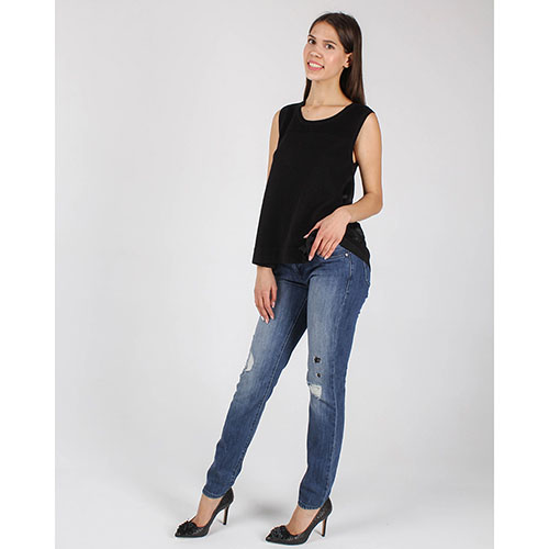 Топ Armani Jeans из мягкого трикотажа черного цвета, фото