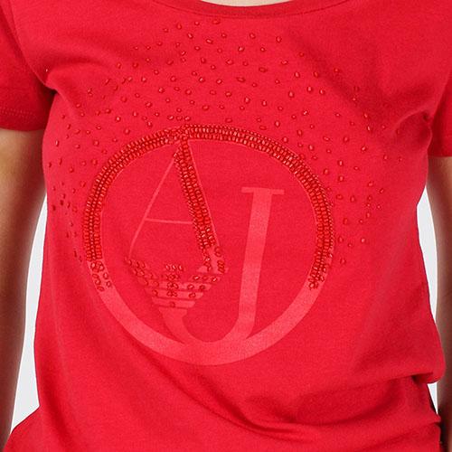 Красная футболка Armani Jeans с брендовой вышивкой бисером, фото