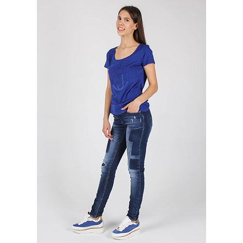 Синяя футболка Armani Jeans с брендовой вышивкой бисером, фото
