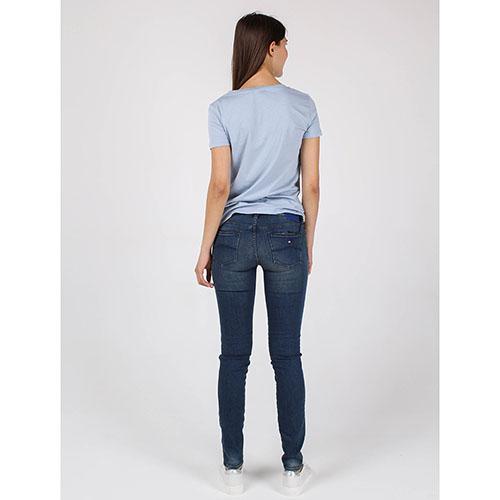 Футболка Armani Jeans голубого цвета с брендовым принтом, фото