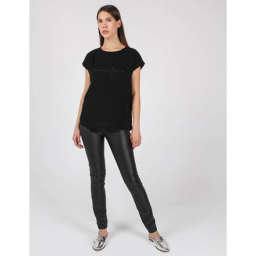 Футболка Armani Jeans черного цвета с брендовой надписью, фото
