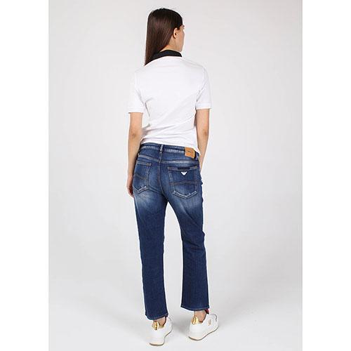 Футболка-поло Armani Jeans белая с синим воротником, фото