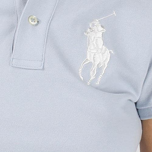 Поло Polo Ralph Lauren голубого цвета с крупным логотипом, фото