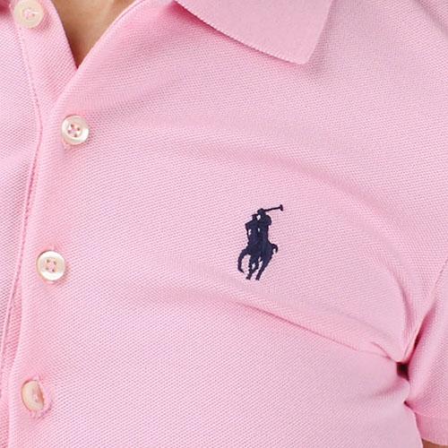 Поло розового цвета Polo Ralph Lauren с черным логотипом, фото