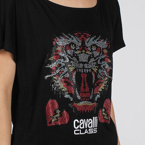 Футболка-оверсайз Cavalli Class с разноцветным тигром, фото