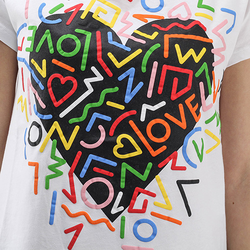 Футболка Love Moschino с разноцветным принтом, фото