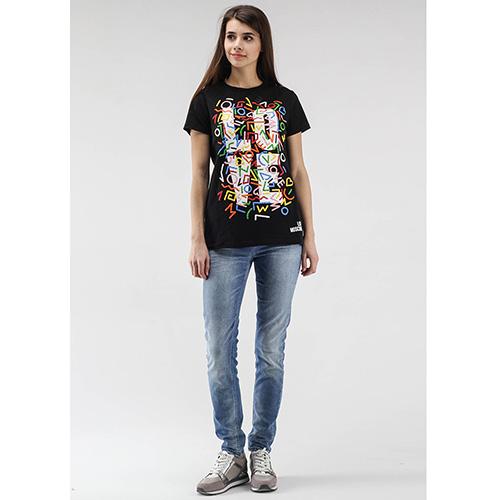 Черная футболка Love Moschino с большим цветным принтом, фото