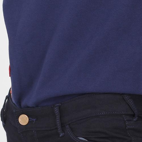 Синяя футболка-поло Polo Ralph Lauren с разноцветными нашивками, фото