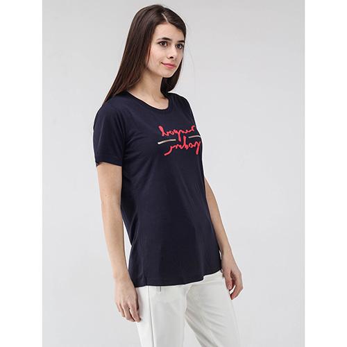 Синяя футболка Bogner с брендовым принтом, фото