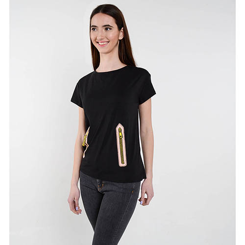 Черная футболка Love Moschino с рисунком в виде замочков, фото