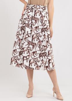 Белая юбка-трапеция Penny Black с анималистическим принтом, фото