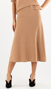 Трикотажная кашемировая юбка Repeat Cashmere бежевая, фото