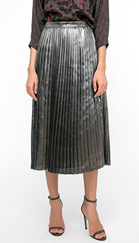Юбка-миди Shako серого цвета с металлическим отливом, фото