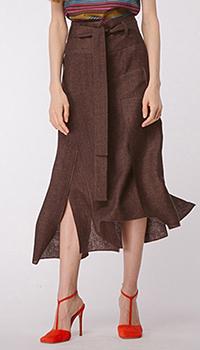 Льняная юбка Shako асимметричная коричневого цвета, фото