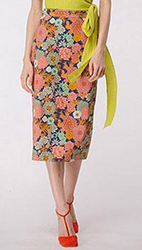 Юбка-карандаш в цветочный принт, фото