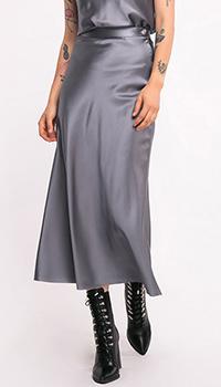 Шелковая юбка-миди Shako серого цвета, фото