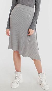 Асимметричная юбка Pinko серого цвета в рубчик, фото