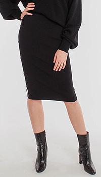 Черная юбка-карандаш Pinko с белыми лампасами, фото