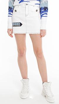 Белая мини-юбка Pinko с нашивками, фото