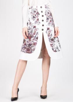Белая юбка Paco Rabanne с флористическим принтом, фото