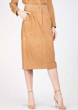 Замшевая юбка Alberta Ferretti коричневого цвета, фото