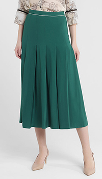 Зеленая юбка-миди Twin-Set со складками, фото
