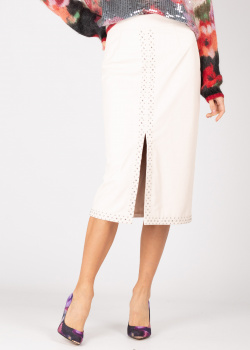 Белая юбка с разрезом Twin-Set из экокожи, фото