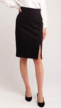 Черная юбка-карандаш Twin-Set с кружевом, фото