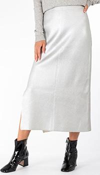 Серебристая юбка-миди Patrizia Pepe с боковым разрезом, фото
