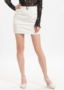 Джинсовая юбка Patrizia Pepe белого цвета, фото