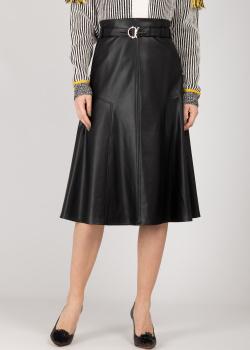 Черная юбка-трапеция Patrizia Pepe из искусственной кожи, фото
