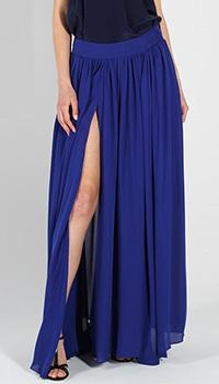 Шелковая юбка в пол Balmain синего цвета с высоким разрезом, фото