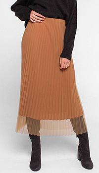 Плиссированная юбка Luisa Cerano бежевого цвета, фото