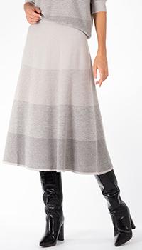 Серая юбка D.Exterior в широкую полоску из кашемира, фото